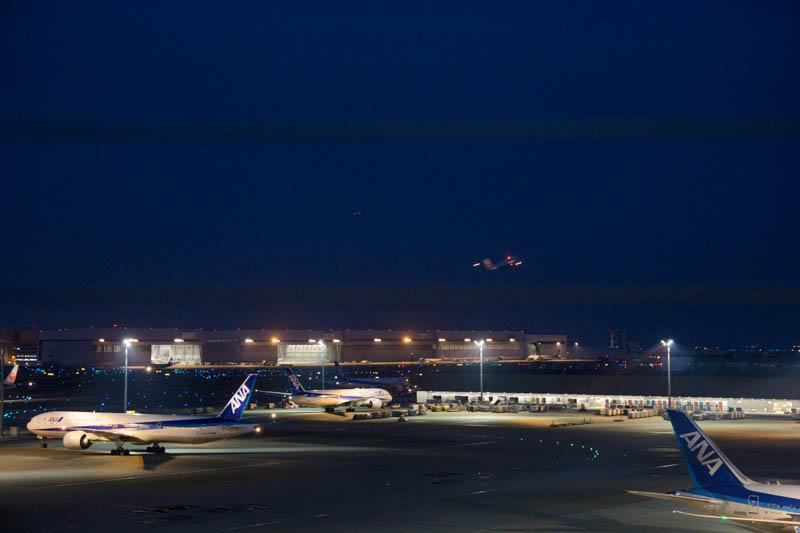 離陸する機体で赤く点灯 アンチ・コリジョン・ライトの例 羽田空港